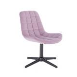 Kosmetická židle PARIS VELUR na černém kříži - fialový vřes