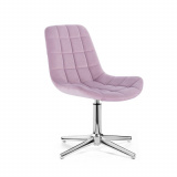 Kosmetická židle PARIS VELUR na stříbrném kříži - fialový vřes