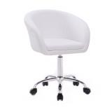 Židle HC- 8326K na stříbrné podstavě s kolečky -  bílá