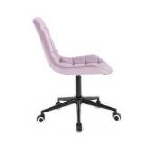 Kosmetická židle HC-590 VELUR na černé základně s kolečky - fialový vřes