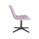Kosmetická židle HC- 590 VELUR na černém kříži - fialový vřes