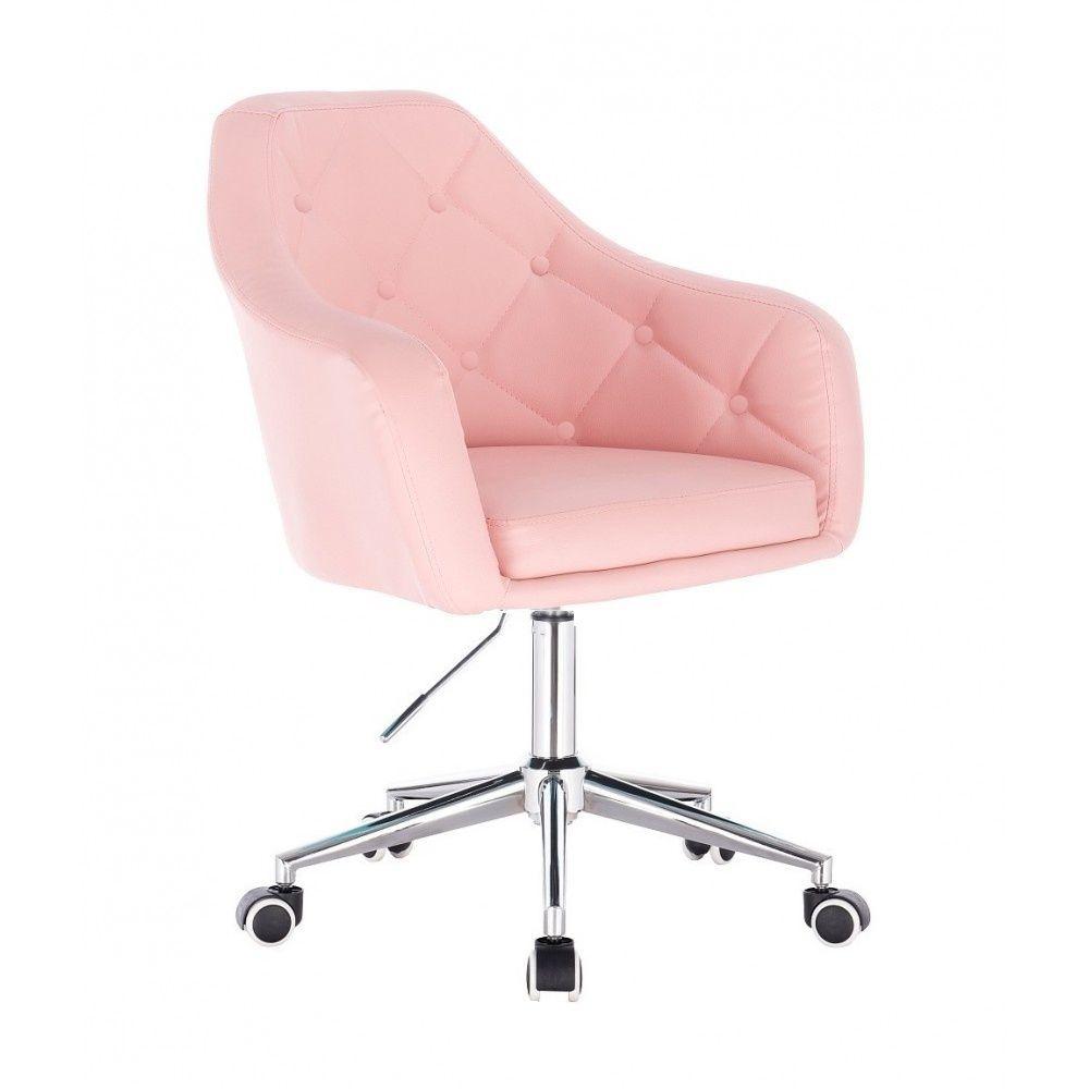 Kosmetické křeslo ANDORA na stříbrné podstavě s kolečky - růžová