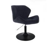 Kosmetická židle MILANO VELUR na černém talíři - černá