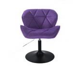 Kosmetická židle MILANO VELUR na černém talíři - fialová
