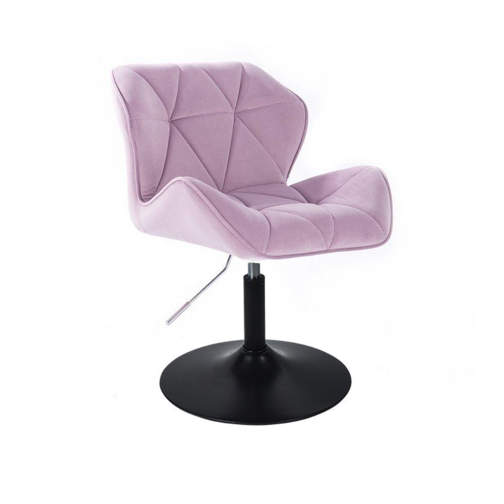 Kosmetická židle MILANO VELUR na černém talíři - fialový vřes