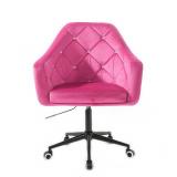 Kosmetické křeslo ROMA VELUR na černé podstavě s kolečky - růžová