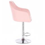 Barová židle ANDORA na kulaté chromové základně - růžová