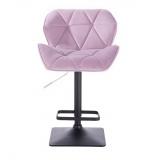 Barová židle MILANO VELUR na černé podstavě - fialový vřes