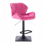 Barová židle MILANO VELUR na černé podstavě - růžová