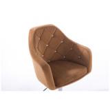 Barová židle ROMA VELUR na černé podstavě - světle hnědá