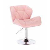 Kosmetická židle MILANO na kulaté podstavě růžová