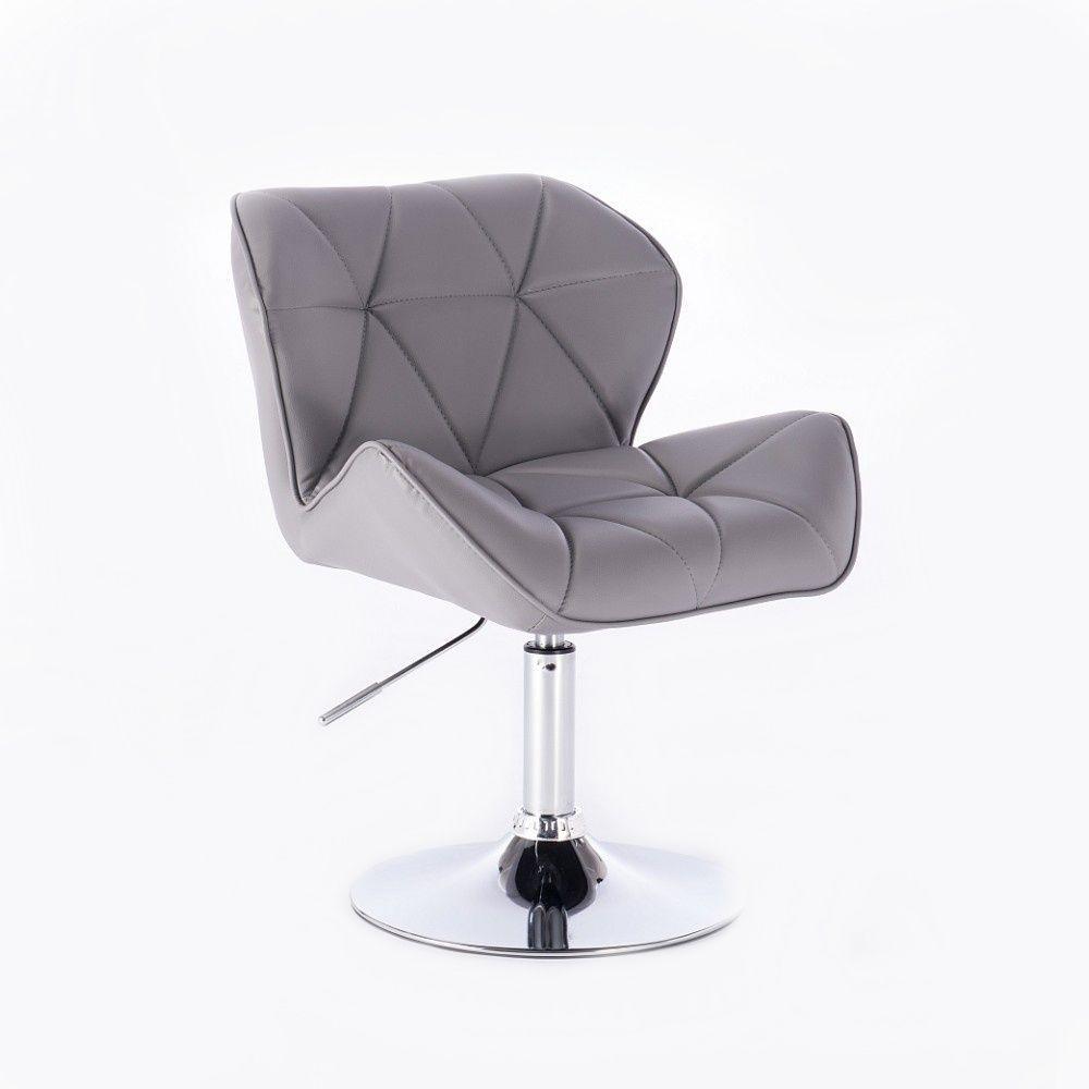 Kosmetická židle MILANO na kulaté podstavě šedá