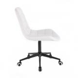 Kosmetická židle PARIS na černé podstavě s kolečky - bílá