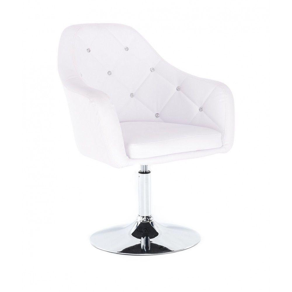 Kosmetická židle ROMA na stříbrné kulaté podstavě - bílá
