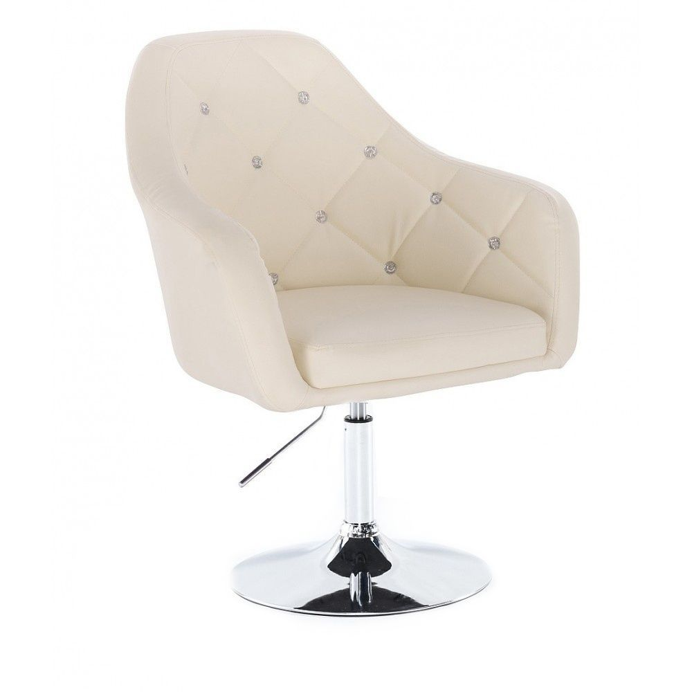 Kosmetická židle ROMA na stříbrné kulaté podstavě - krémová