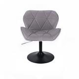 Kosmetická židle MILANO na černé kulaté podstavě - šedá