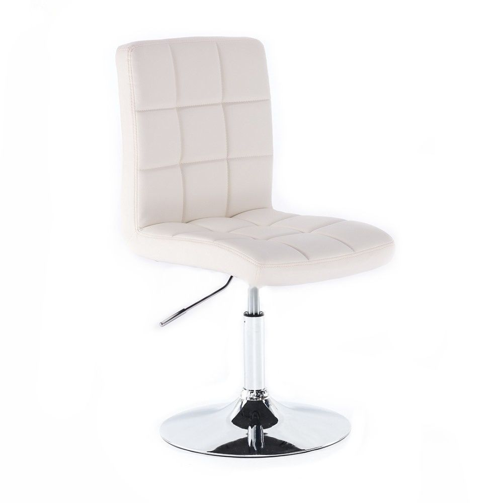 Kosmetická židle TOLEDO na stříbrné kulaté podstavě - bílá