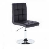 Kosmetická židle TOLEDO na stříbrné kulaté podstavě - černá