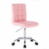 Kosmetická židle TOLEDO na stříbrné podstavě s kolečky - růžová