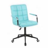 Kosmetická židle VERONA na černé podstavě s kolečky - tyrkysová
