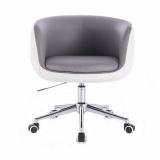 Kosmetická židle MONTANA na stříbrné podstavě s kolečky - šedobílá