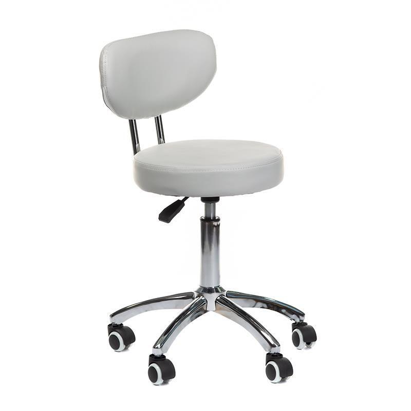 Kosmetická židle BERGAMO na podstavě s kolečky šedá