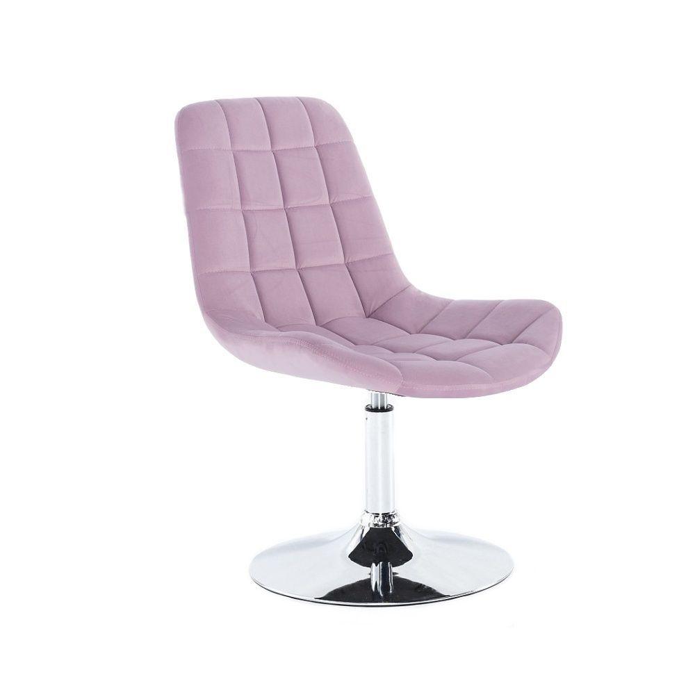 Kosmetická židle HC-590 VELUR na stříbrném talíři - fialový vřes