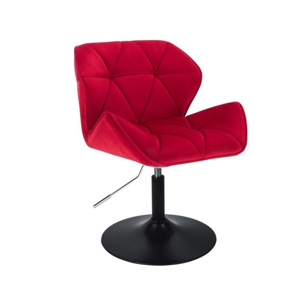 Kosmetická židle MILANO VELUR na černém talíři - červená