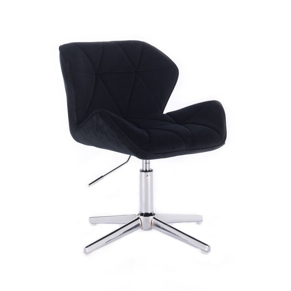 Kosmetická židle MILANO VELUR na stříbrném kříži - černá