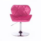 Kosmetická židle MILANO VELUR na stříbrném talíři - růžová (VPT)