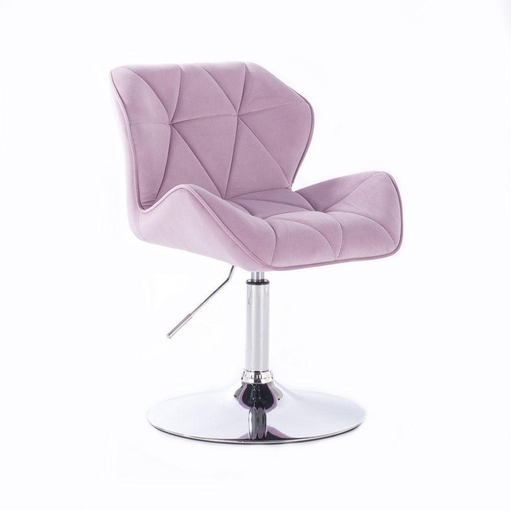 Kosmetická židle MILANO VELUR na stříbrném talíři - fialový vřes