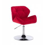 Kosmetická židle MILANO VELUR na stříbrném talíři - červená