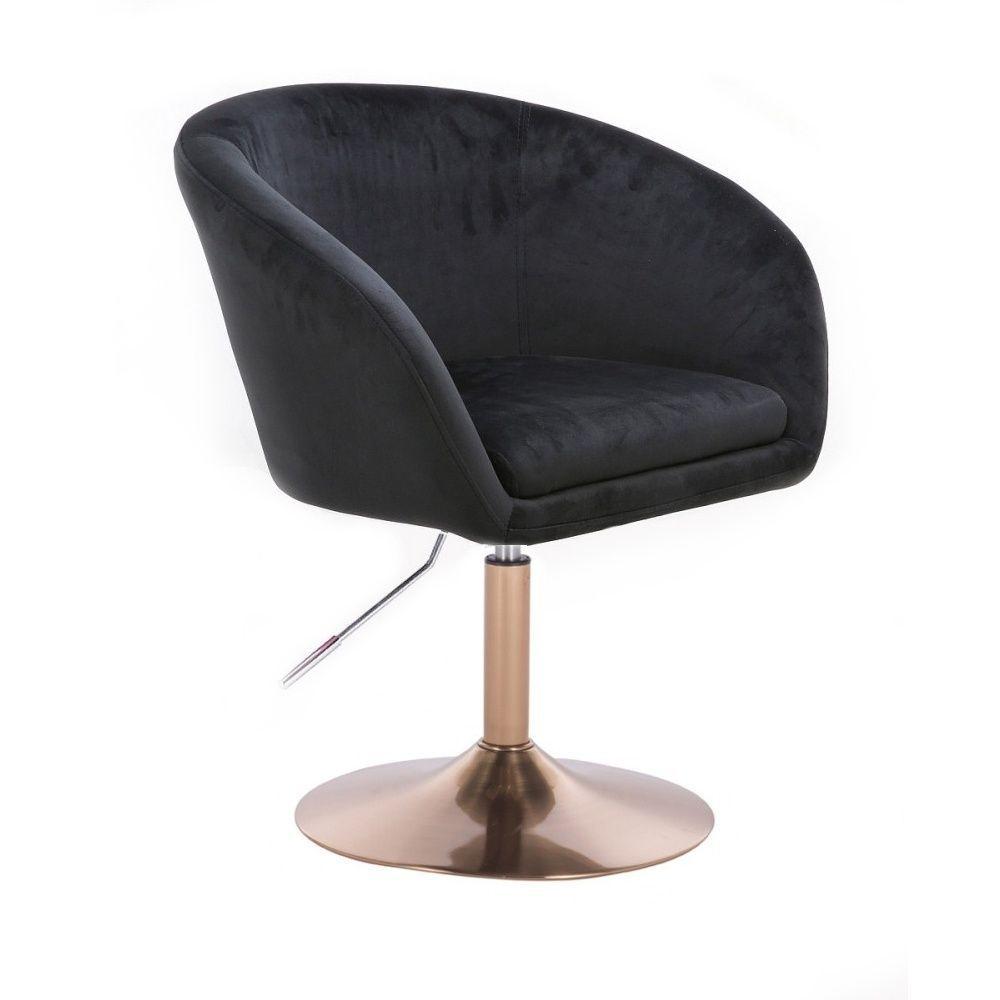 Kosmetická židle VENICE VELUR na zlatém talíři - černá