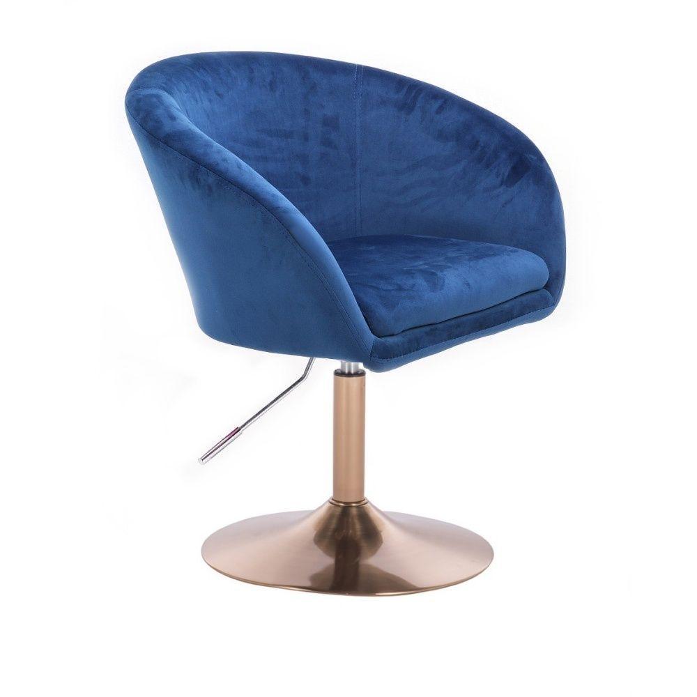 Kosmetická židle VENICE VELUR na zlatém talíři - modrá