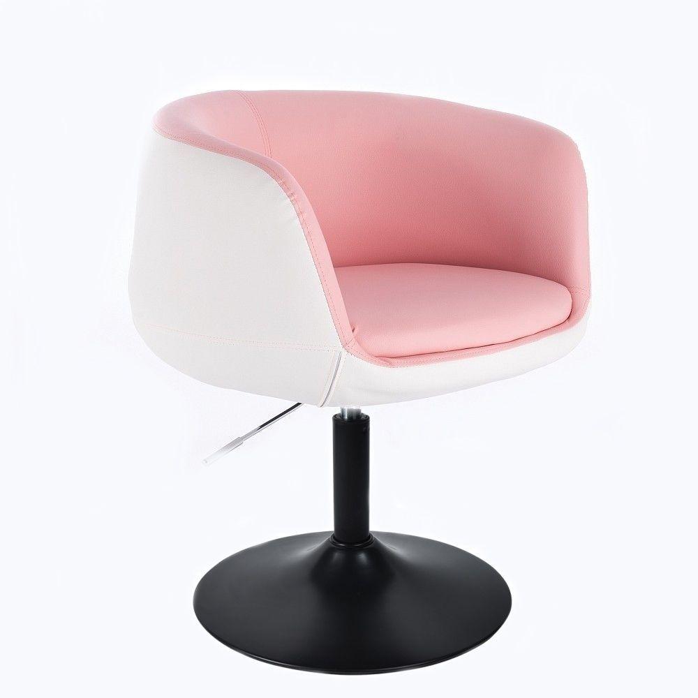 Kosmetické křeslo MONTANA na černém talíři - růžovobílé