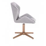 Kosmetická židle MILANO MAX na zlatém kříži - šedá