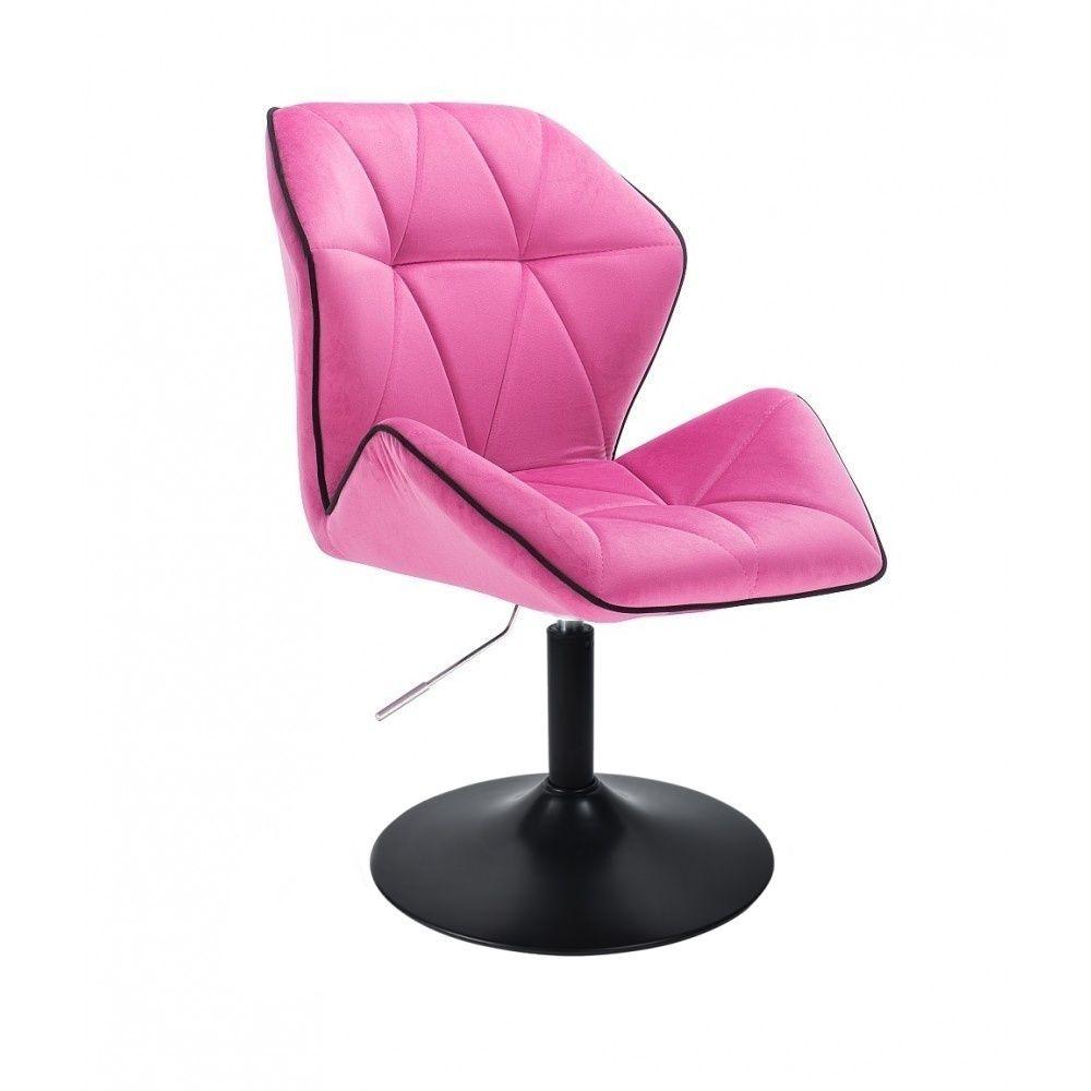 Kosmetická židle MILANO MAX VELUR na černém talíři - růžová