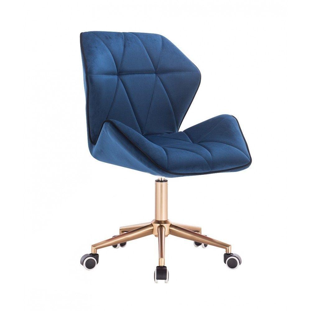Kosmetická židle MILANO MAX VELUR na zlaté základně s kolečky - modrá
