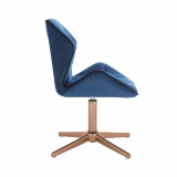 Kosmetická židle MILANO MAX VELUR na zlatém kříži - modrá