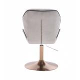 Kosmetická židle MILANO MAX VELUR na zlatém talíři - šedá