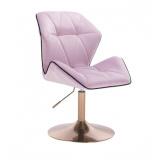 Kosmetická židle MILANO MAX VELUR na zlatém talíři - fialový vřes