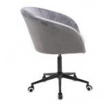 Kosmetická židle VENICE VELUR na černé podstavě s kolečky - světle šedá