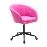 Kosmetická židle VENICE VELUR na černé podstavě s kolečky - růžová