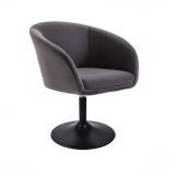 Kosmetická židle VENICE VELUR na černém talíři - tmavě šedá