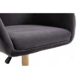 Kosmetická židle VENICE VELUR na stříbrné podstavě s kolečky - šedá