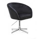 Kosmetická židle VENICE VELUR na stříbrném kříži - černá