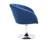 Kosmetická židle VENICE VELUR na stříbrném talíři - modrá