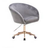 Kosmetická židle VENICE VELUR na zlaté podstavě s kolečky - světle šedá