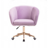 Kosmetická židle VENICE VELUR na zlaté podstavě s kolečky - fialový vřes