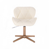 Kosmetická židle MILANO na zlatém kříží - krémová